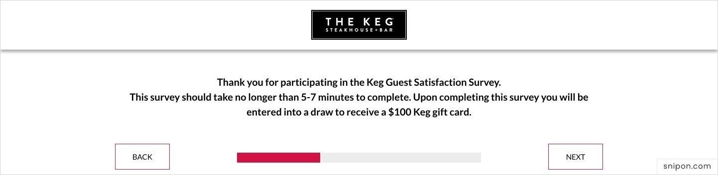 Enter The Keg Survey - The Keg Feedback Survey