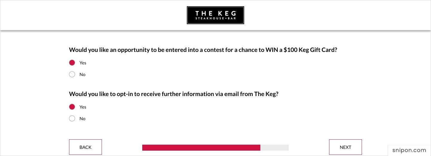 Enter The Keg Sweepstakes & Newsletter - Keg Feedback Survey