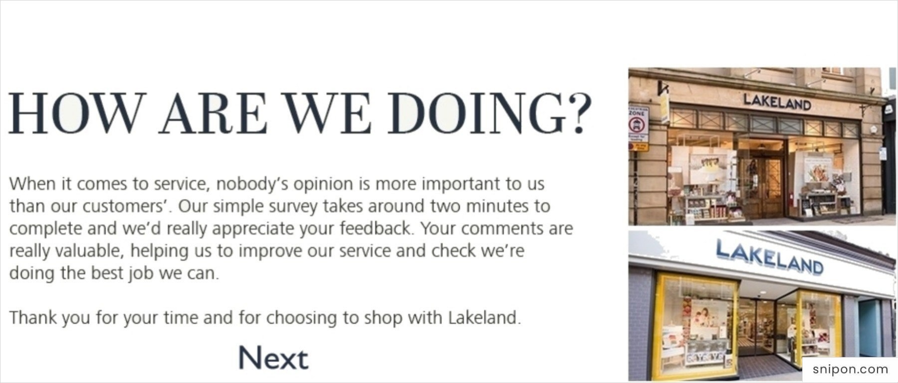 Welcome Screen of Lakeland Survey