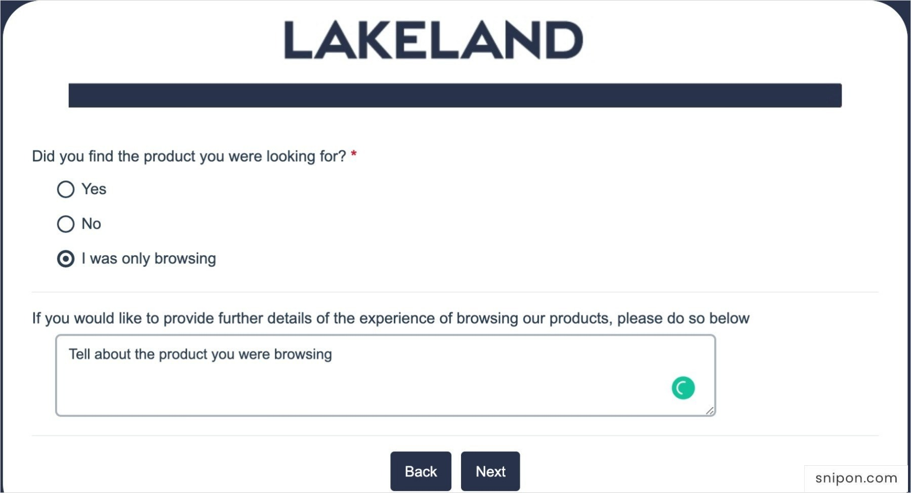 Did You Find The Product You Were Looking For? Lakeland Survey